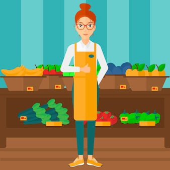 Sympathique ouvrier de supermarché