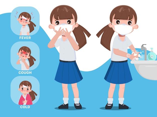 Symptôme infographique d'un étudiant thaïlandais et protection contre l'école du personnage de covid19 siam bangkok