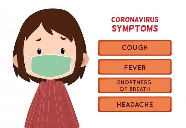 Symptômes de coronavirus avec caractère d'enfants