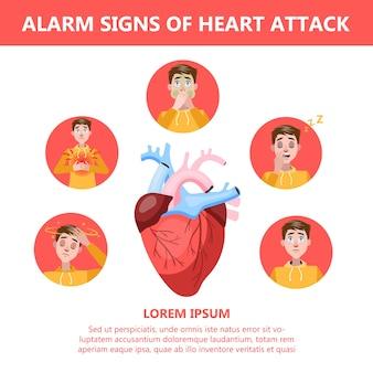 Les symptômes de crise cardiaque et l'avertissement chante. infographie