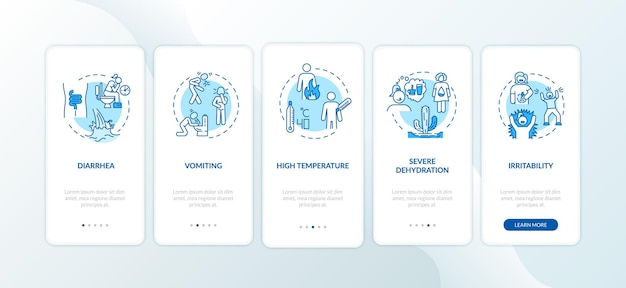 Symptômes du rotavirus à bord de l'écran de la page de l'application mobile avec des concepts. diarrhée, vomissements et température élevée instructions graphiques en 5 étapes. modèle vectoriel d'interface utilisateur avec illustrations en couleur rvb