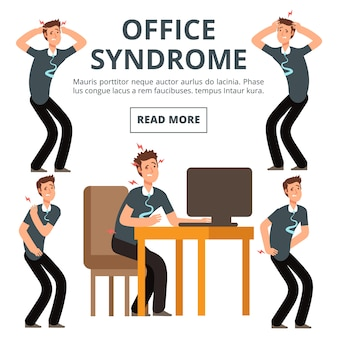 Symptômes du syndrome de bureau d'illustration d'ensemble
