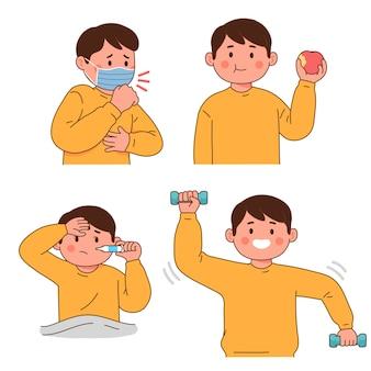 Symptômes du virus de la maladie en mangeant sainement et en faisant de l'exercice