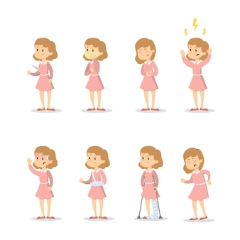 Symptômes avec femme sur fond blanc.