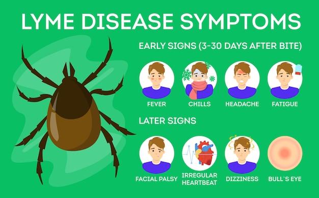 Symptômes de la maladie de lyme. danger pour la santé des tiques