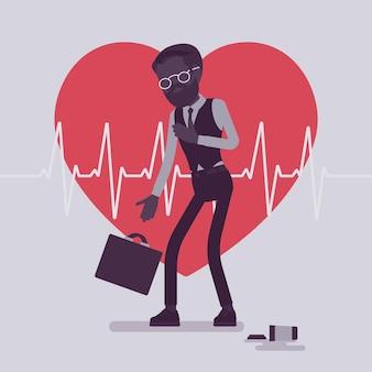 Symptômes Masculins De Crise Cardiaque Vecteur Premium