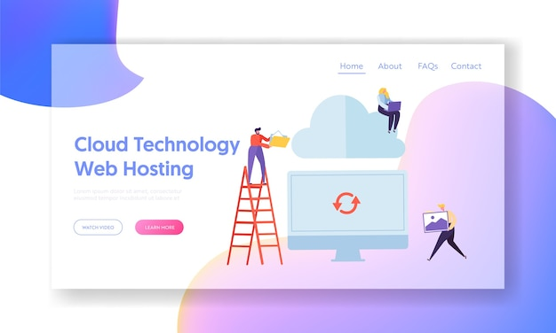 Synchroniser l'ordinateur avec le modèle de site web d'hébergement de technologie cloud pour la page web.