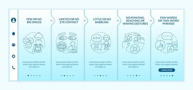 Le syndrome d'asperger signe le modèle vectoriel d'intégration des enfants. site web mobile réactif avec des icônes. écrans de présentation de page web en 5 étapes. concept de couleur de phrases de quelques mots avec des illustrations linéaires