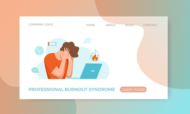 Syndrome d'épuisement professionnel homme épuisé fatigué assis sur son lieu de travail dans la tenue de bureau