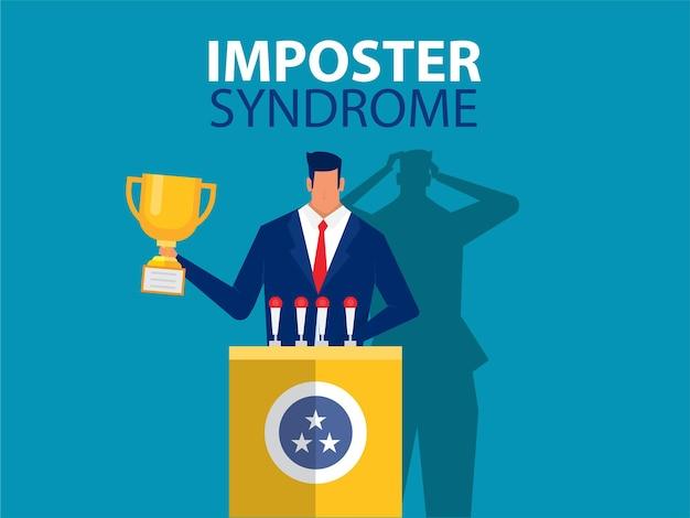 Syndrome de l'imposteur debout pour son profil actuel avec une ombre de peur derrière