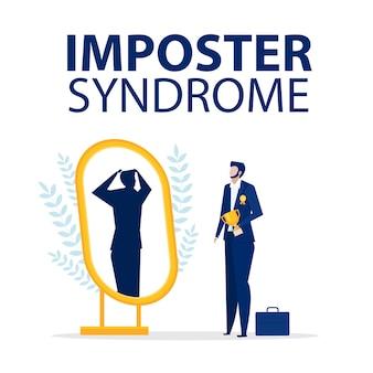 Syndrome de l'imposteur. homme d & # 39; affaires debout avec miroir et se voyant comme une ombre derrière.