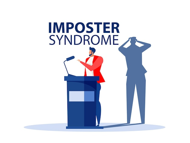 Syndrome de l'imposteurhomme d'affaires debout pour son profil actuel avec l'ombre de la peur retour