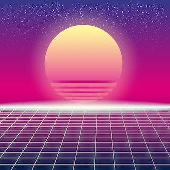 Synthwave retro futuristic landscape with sun and styled laser grid. neon retrowave design and elements sci-fi 80s 90s space