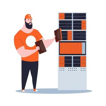 Sysadmin maintenant ou réparant le serveur. maintenance des travaux, réparation et réglage de la connexion réseau. l'ingénieur technique travaille sur la maintenance du système.