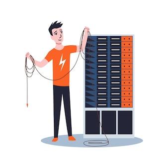 Sysadmin maintenant ou réparant le serveur. maintenance des travaux, réparation et réglage de la connexion réseau. travail d'ingénieur technique sur la maintenance du système