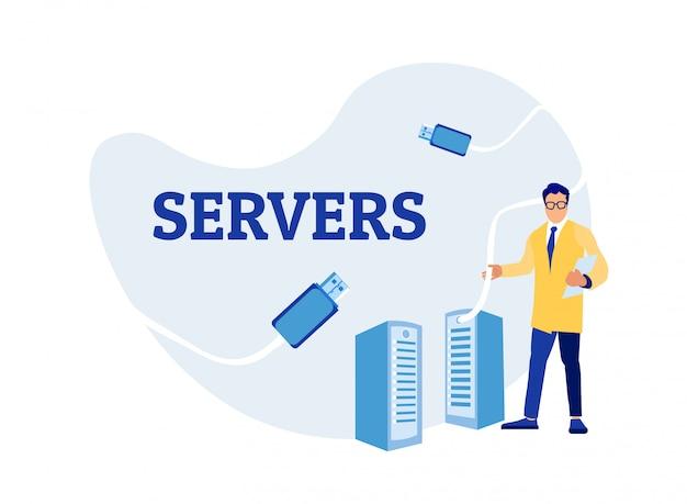 Sysadmin man engineer utilisation de server rack