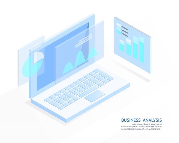 Système d'analyse d'entreprise, concept de lumière bleue isométrique