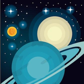 Système d'astronomie solaire planètes isolées