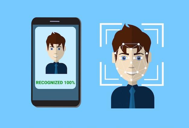 Système de balayage biométrique de visage de l'utilisateur de balayage de protection de contrôle de protection, concept de technologie de reconnaissance faciale