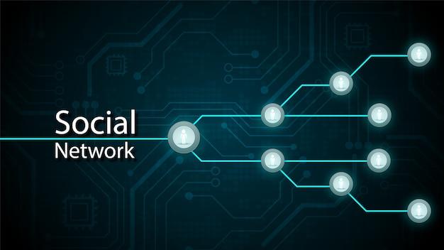 Système de circuit de technologie connectée au réseau social et symbole de personnes