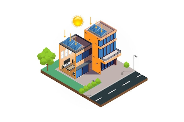 Système de diagramme de cellules solaires de maison moderne isométrique