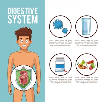 Système digestif et jeune homme avec des symboles ronds