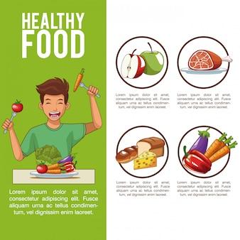 Système digestif et nutrition avec dessin animé de jeune homme