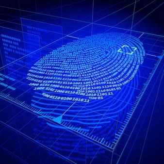 Système D'identification Numérique Des Empreintes Digitales Vecteur Premium