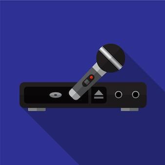 Système de karaoké icône plate illustration isolé vecteur signe symbole