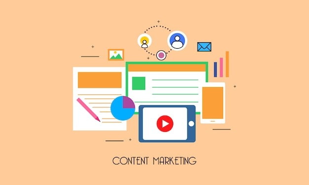 Système de marketing de contenu design plat