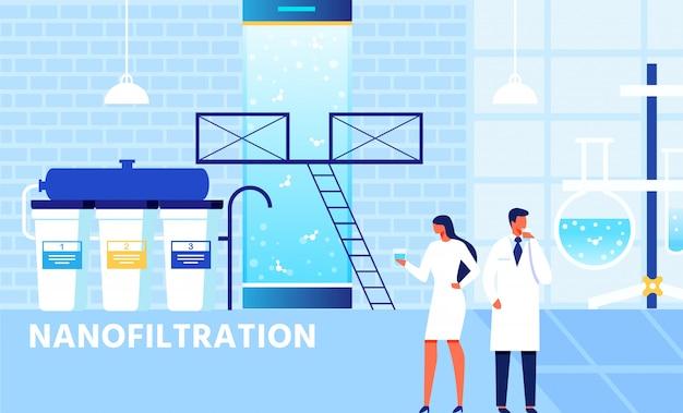 Système de nanofiltration en usine et équipe de scientifiques
