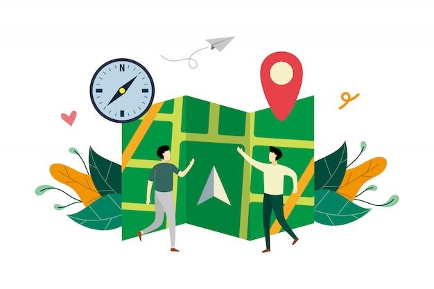 Système de navigation gps, emplacement sur l'illustration à plat du plan de la ville avec un petit peuple