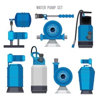 Système de pompe à eau. aqua traitement électronique acier compresseur agriculture station d'épuration icônes ensemble