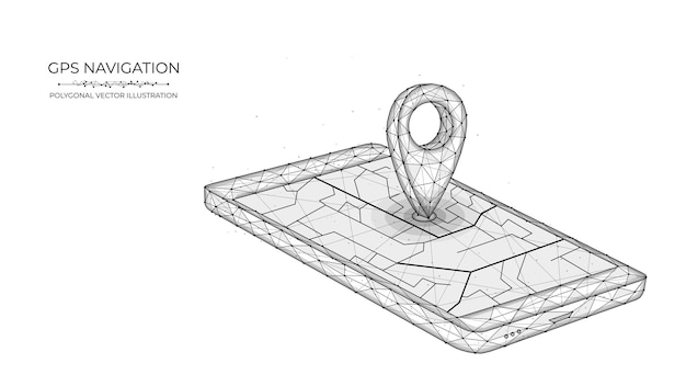 Système de positionnement global low poly art illustration vectorielle polygonale de la navigation gps mobile