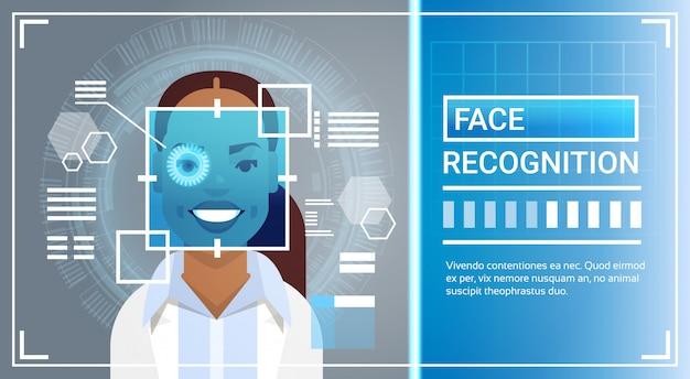 Système de reconnaissance faciale balayage de la rétine dans les yeux d'une femme afro-américaine