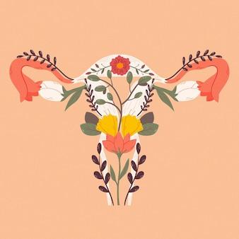 Système reproducteur féminin avec des fleurs