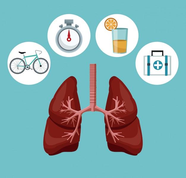Système respiratoire avec des icônes d'éléments de la santé autour