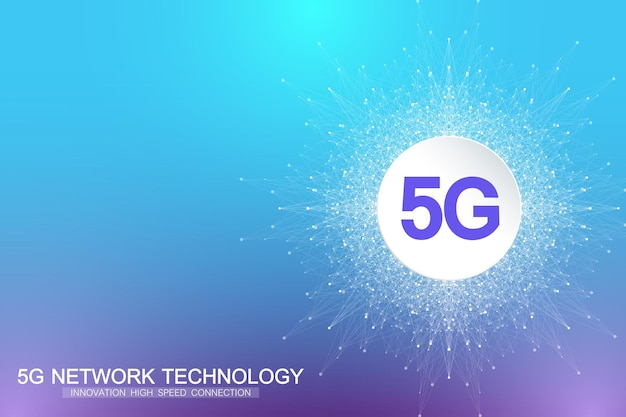 Système sans fil réseau 5g et arrière-plan de connexion internet
