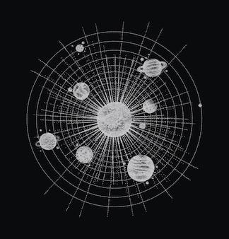 Système solaire dans le style dotwork