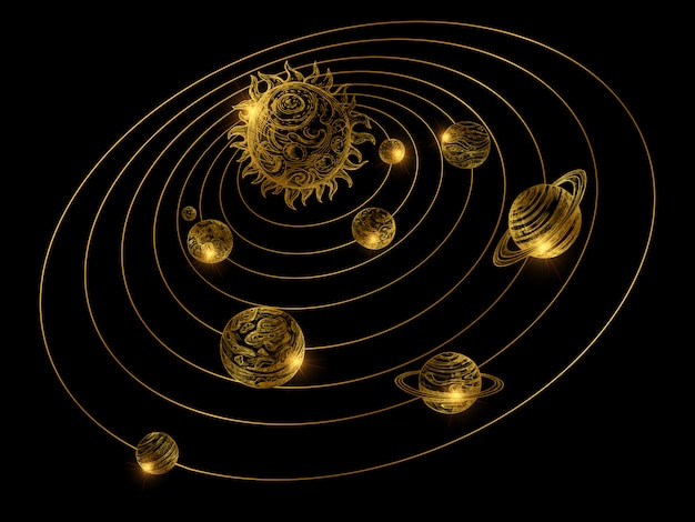 Système solaire doré brillant