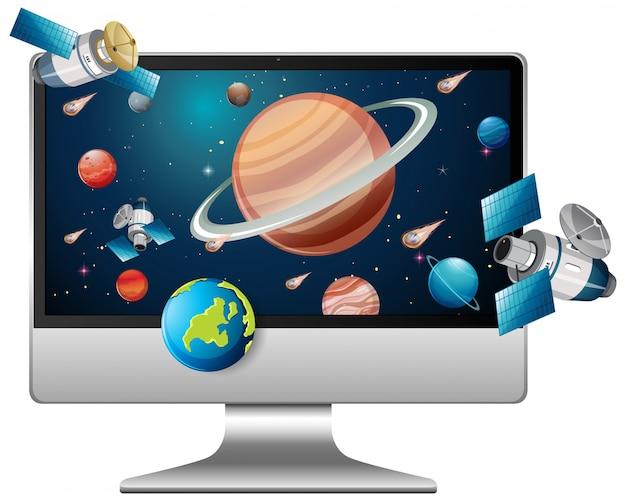 Système Solaire Sur Fond D'ordinateur Vecteur Premium