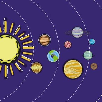 Système solaire avec des planètes dans l'espace des galaxies