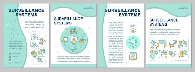 Le système de surveillance comprend un modèle de brochure à la menthe. utilisation des caméras. flyer, brochure, dépliant imprimé, conception de la couverture avec des icônes linéaires. dispositions vectorielles pour la présentation, les rapports annuels, les pages de publicité