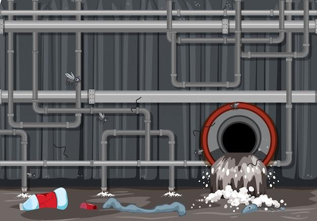 Système de tuyau de déchets et pollution de l'eau