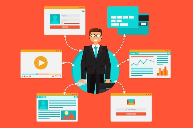 Système web de banque, outils financiers et contenu d'information à partir de vidéo, blog, site, réseaux sociaux, envois de fonds en ligne et e-mail. illustration vectorielle de banque en ligne