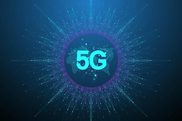 Systèmes sans fil du réseau 5g et illustration vectorielle internet. réseau de communication. bannière de concept d'entreprise. bannière de concept d'intelligence artificielle et d'apprentissage automatique