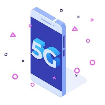 Systèmes sans fil de réseau 5g, concept isométrique d'internet mobile à haut débit.