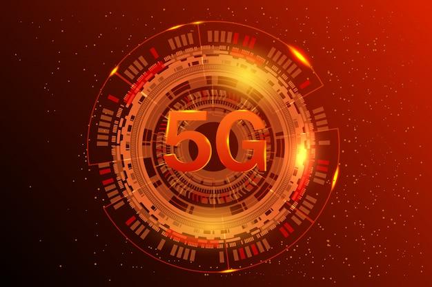 Systèmes sans fil de réseau 5g et illustration internet. réseau de communication. bannière de concept d'entreprise. abstrait rougeoyant