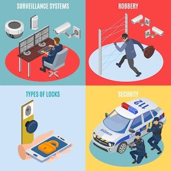 Systèmes de sécurité isométrique 4 icônes concept carré avec technologie de surveillance protection contre le vol serrures électroniques isolées