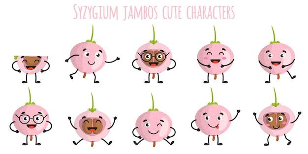 Syzygium jambos fruits mignons personnages gais drôles avec différentes poses et émotions